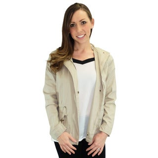 Relished Women's Contemporary Marin County Beige Hooded Utility Jacket