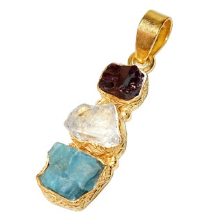 Handmade Gold Overlay Garnet Crystal Quartz and Apatite Rough Gemstone Pendant (India)