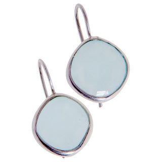 Handmade Aqua Chalcedony Earrings (India)