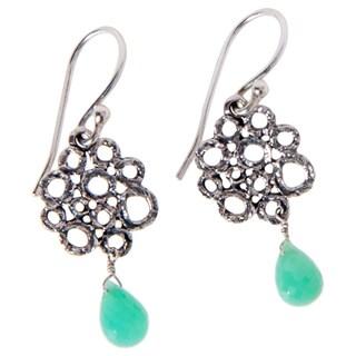 Handmade Sterling Silver Chrysoprase Earrings (India) - aqua