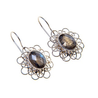Handmade Sterling Silver Labradorite Earrings (India)