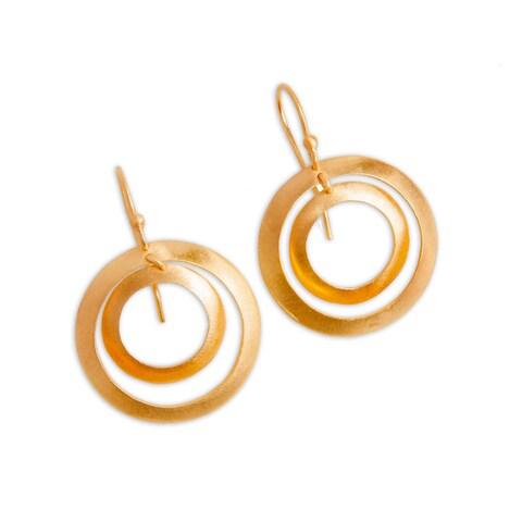Handmade Goldoverlay Sterling Silver Double Hoop Earrings (India)