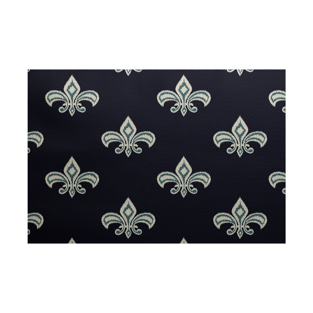E By Design Fleur de Lis Ikat Print Rug (3' x 5') (Yellow...