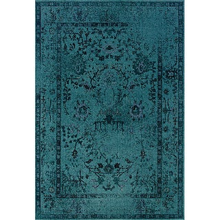 Teal/ Grey Transitional Area Rug (9'10 x 12'10) (As Is Item)