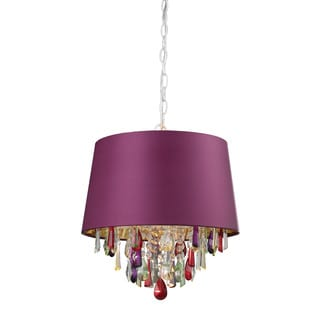 Sterling Purple Drum Pendant-light With Crystal Drops