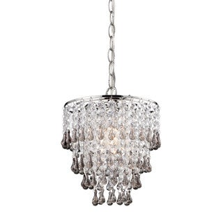Sterling Teak And Clear Crystal Pendant Lamp