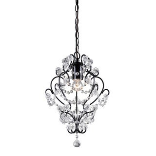 Sterling Black Framed And Clear Crystal Mini Pendant Lamp