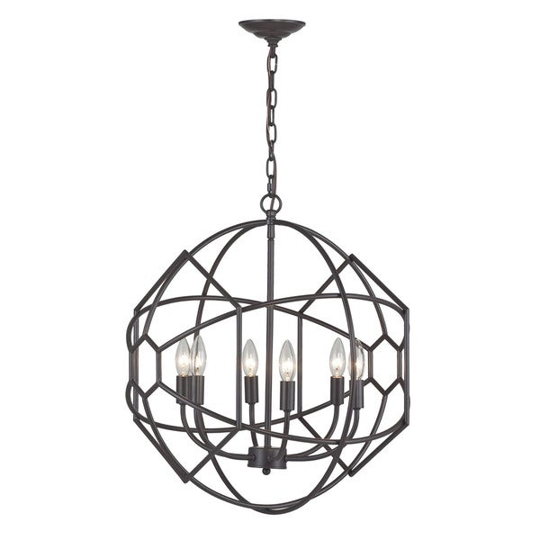 Sterling strathroy 6 light orb chandelier with honeycomb metal sterling strathroy 6 light orb chandelier with honeycomb metal work mozeypictures Images