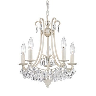 Sterling Mini Chandelier In Antique Cream And Clear