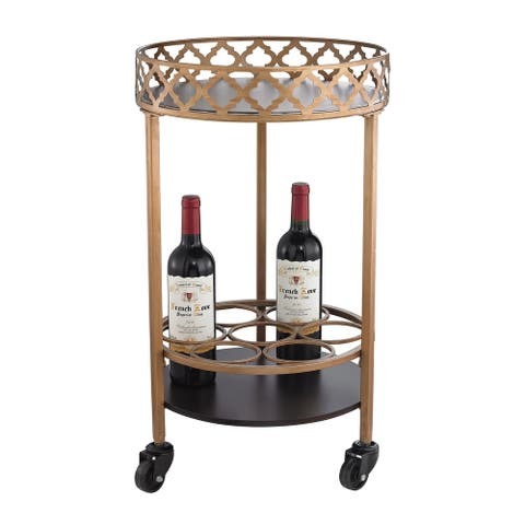 Sterling Circular Quatrefoil Bar Cart