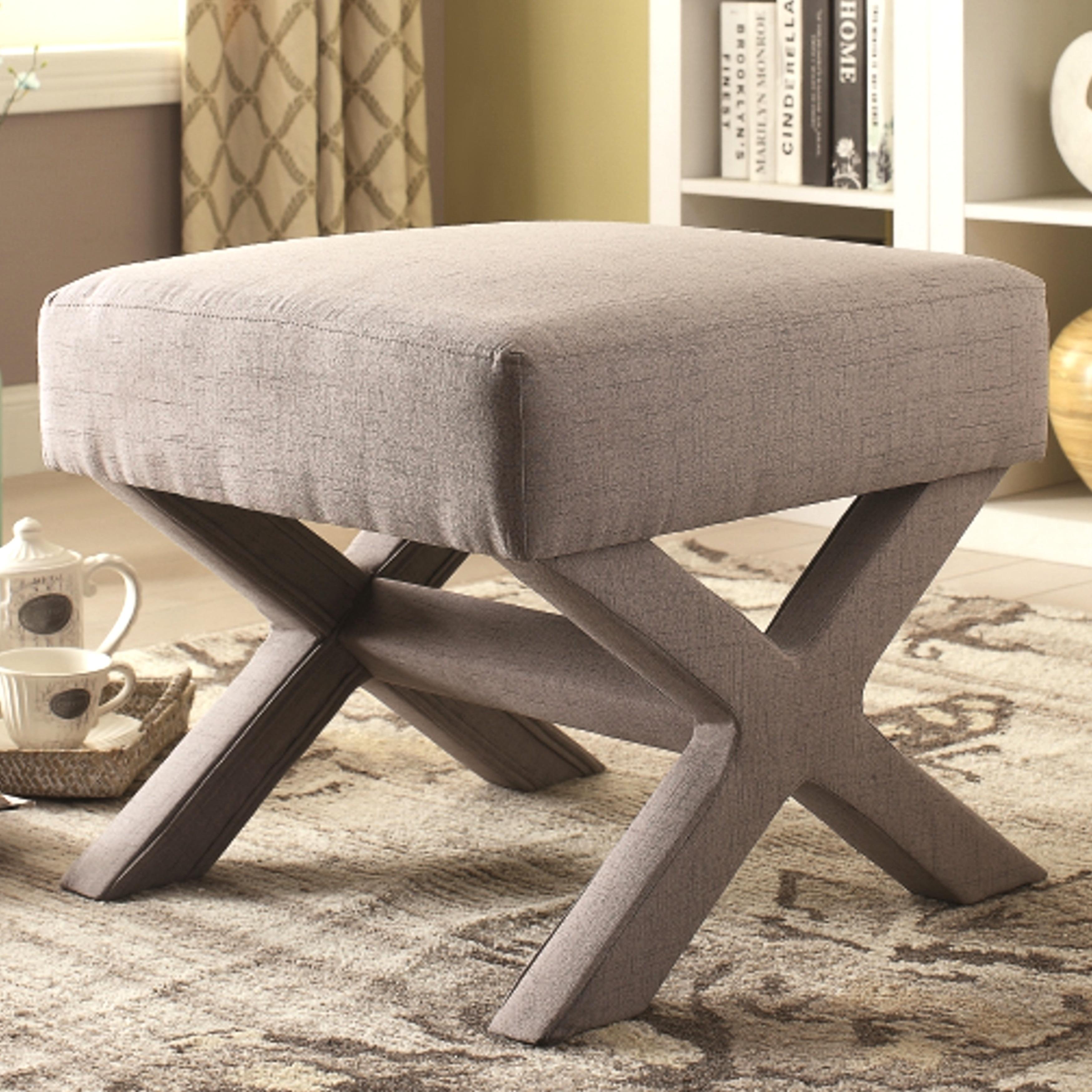 Rondo Living Room Grey Upholstered Ottoman Bench
