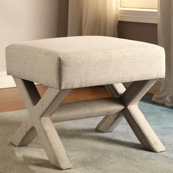 Merveilleux Rondo Living Room Beige Upholstered Ottoman/ Bench