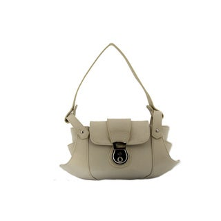 24/7 Comfort Apparel Faux Leather Beige Handbag