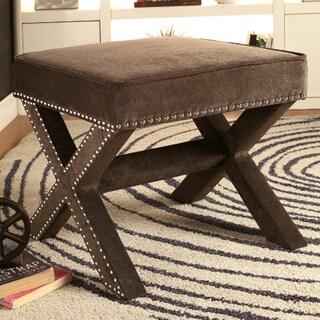 Zoris Grey Living Room Velvet Upholstered Ottoman/ Bench with Nailhead Trim