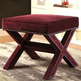 Zoris Wine Living Room Velvet Upholstered Ottoman/ Bench with Nailhead Trim