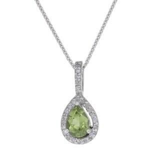 14k White Gold Peridot 1/6ct TDW Diamond Necklace (I-J, I2-I3)