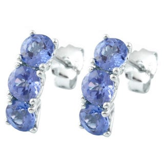 Sterling Silver 3-stone Tanzanite Earrings