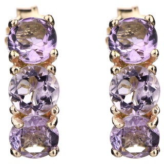 Yellow Goldplated Sterling Silver 3-stone Pink Sapphire Earrings