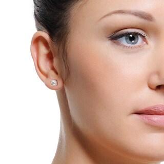 Eternally Haute Sterling Silver Princess-cut Cubic Zirconia Stud Earrings