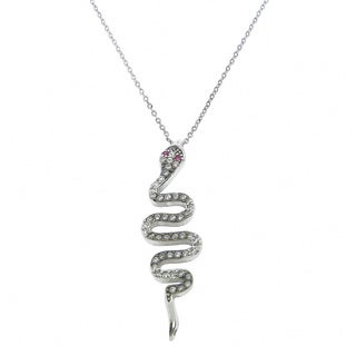 Eternally Haute Solid Sterling Silver Pave Snake Necklace