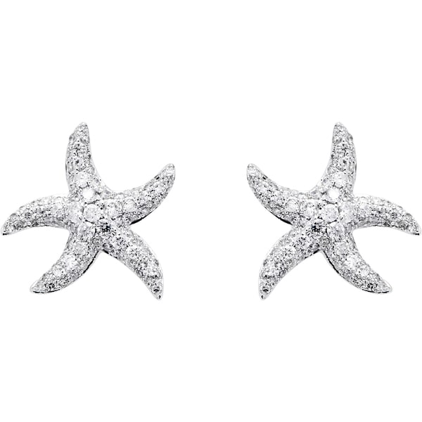 Effy Final Call 14k White Gold Diamond Starfish Earrings