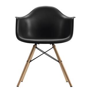 DHP Mid Century Modern Molded Arm Black Chair with Wood Leg