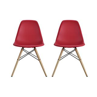 DHP Mid Century Modern Molded Red Chair with Wood Leg (Set of 2)