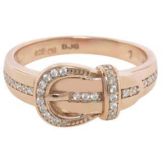Eternally Haute 14k Rose Gold over Sterling Silver Pave Buckle Ring