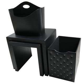 Black Leatherette Side Tables and Storage Accessories (set of 4)