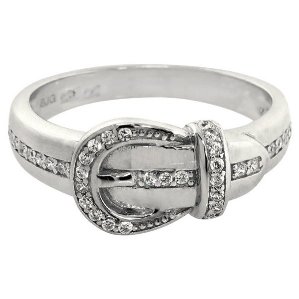 Eternally Haute Solid Sterling Silver Pave Cubic Zirconia Buckle Ring