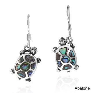 Upstream Journey Turtles Stone .925 Silver Dangle Earrings (Thailand)