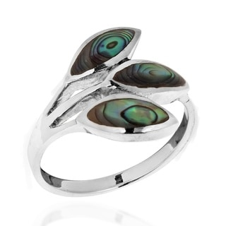 Tropical Rainbow Abalone Leaf Wrap Sterling Silver Ring (Thailand)