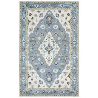 Arden Loft Crown Way Ivory/ Blue Oriental Hand-tufted Wool Area Rug (9' x 12')