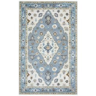 Arden Loft Crown Way Ivory/ Blue Oriental Hand-tufted Wool Area Rug (10' x 14')