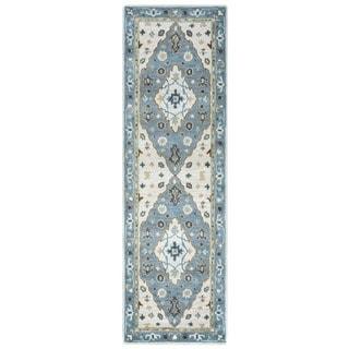 Arden Loft Crown Way Ivory/ Blue Oriental Hand-tufted Wool Area Rug (2'6' x 8')