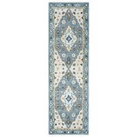 Arden Loft Crown Way Ivory/ Blue Oriental Hand-tufted Wool Area Rug (2'6' x 8') - 2'6 x 8'
