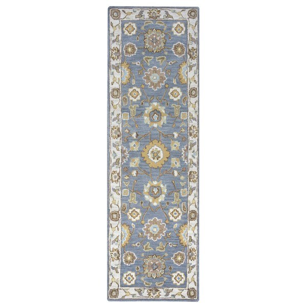 Arden Loft Crown Way Grey/ Natural Oriental Hand-tufted Wool Area Rug (2'6' x 8') - 2'6 x 8'