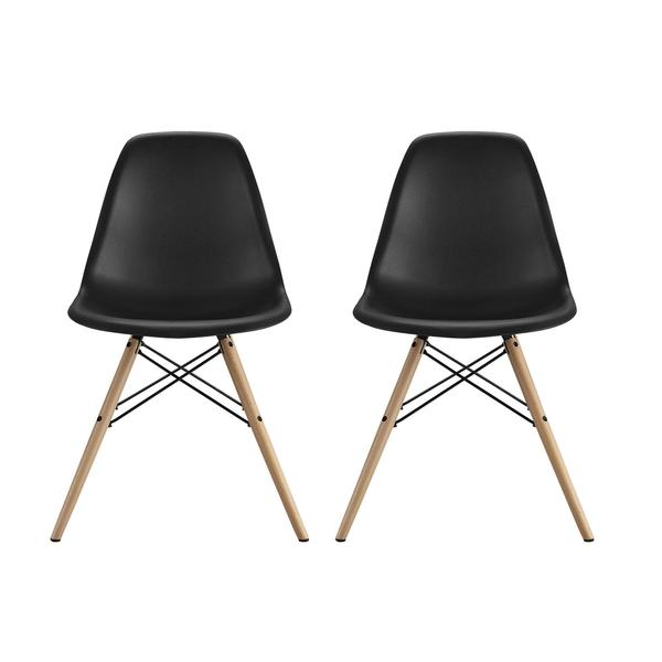 DHP Mid Century Modern Molded Black Chair With Wood Leg Set Of 2 Free Shi