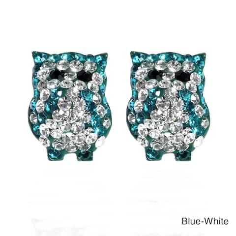 Handmade Jovial Bright Owl Cubic Zirconia .925 Silver Stud Earrings (Thailand)