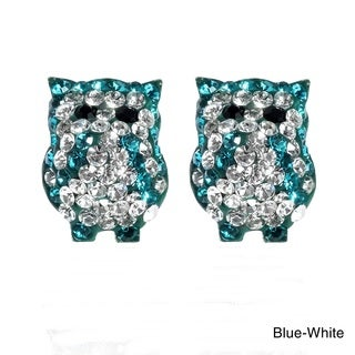 Handmade Jovial Bright Owl Cubic Zirconia .925 Silver Stud Earrings (Thailand)