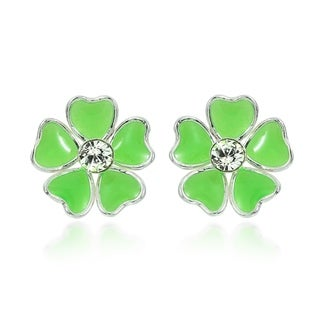 Mini Heart Plumeria Enamel Sterling Silver Stud Earrings (Thailand)