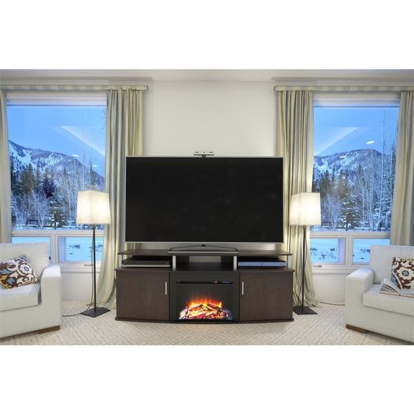 Ameriwood Home Carson Electric Fireplace 70 Inch Cherry Tv Console Free Shipping Today