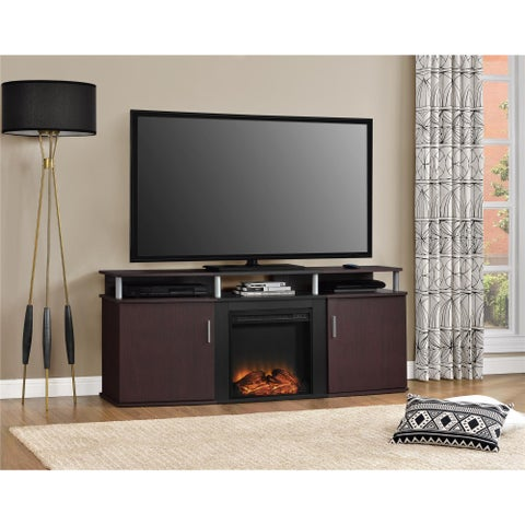 Ameriwood Home Carson Cherry/Black Wood/Metal Electric Fireplace TV Console