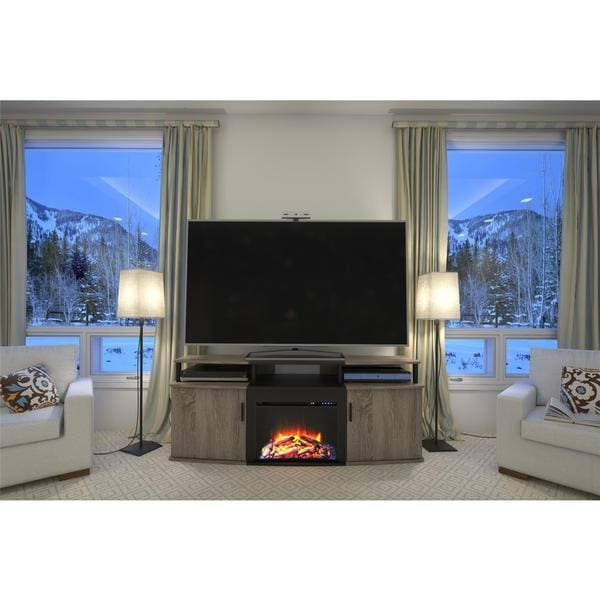 Ameriwood Home Sonoma Oak Carson 70 Inch Fireplace Tv