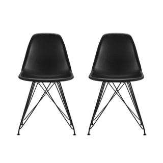 DHP Mid Century Modern Molded Black Chair with Coloured Leg (Set of 2)