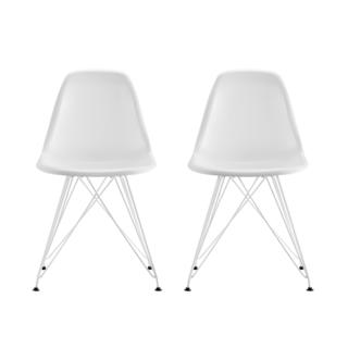 DHP Mid Century Modern Molded White Chair with Coloured Leg (Set of 2)
