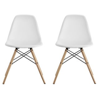 DHP White Eames Replica Molded Chair with Wood Leg, Set of 2