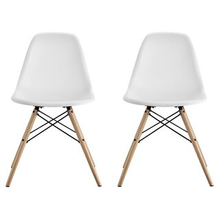 DHP Mid Century Modern Molded White Chair with Wood Leg (Set of 2)