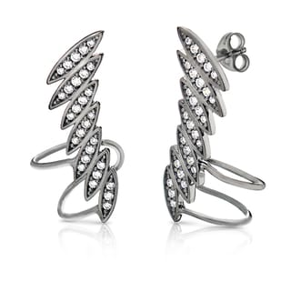 Pori Goldplated or Black Rhodium-plated Sterling Silver Cubic Zirconia Wing Cuff Earrings