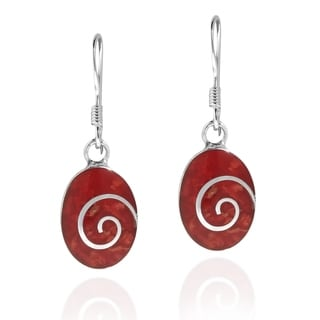 Handmade Red Coral Oval Disc .925 Sterling Silver Dangle Earrings (Thailand)